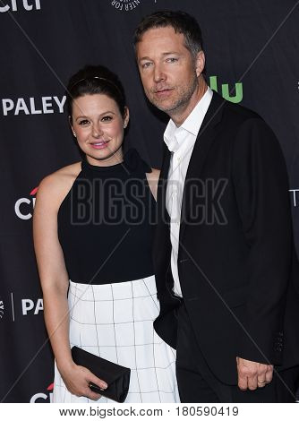 LOS ANGELES - MAR 26:  Katie Lowes and George Newbern arrives for the PaleyFest LA 2017-Scandal on March 26, 2017 in Hollywood, CA