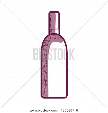 line wine bottle liquor beverage, vector illustration design