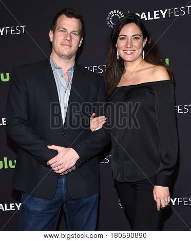 LOS ANGELES - MAR 25:  Jonathan Nolan and Lisa Joy arrives for the Paleyfest 2017-Westworld on March 25, 2017 in Hollywood, CA