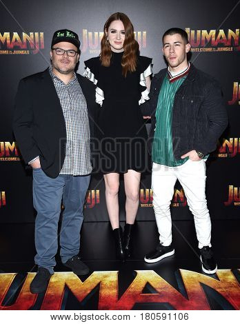 LOS ANGELES - MAR 27:  Jack Black, Karen Gillan and Joe Jonas arrives for the CinemaCon 2017-Sony Pictures on March 27, 2017 in Las Vegas, NV
