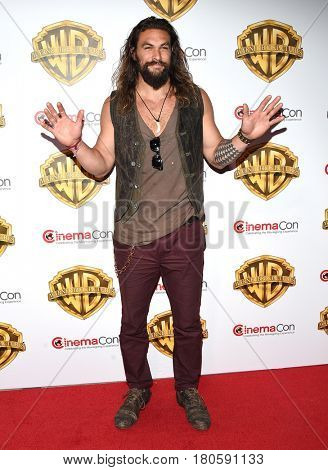 LOS ANGELES - MAR 29:  Jason Momoa arrives for the CinemaCon 2017-Warner Brothers on March 29, 2017 in Las Vegas, NV