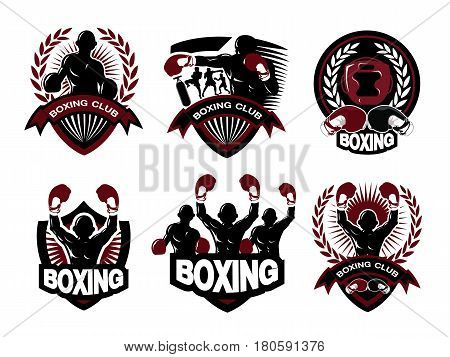 Illustration of boxing logo set.It's for boxing logo and label.
