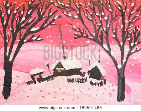 Children's drawing -  Pink winter. Gouache on paper