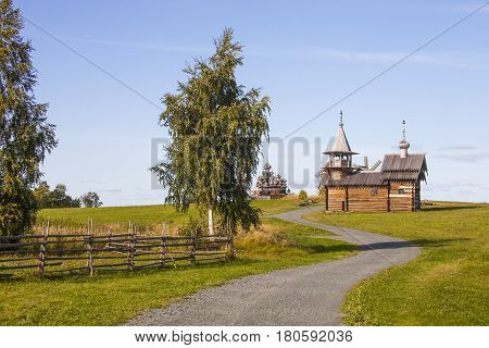Christian orthodox wooden church in the autumn landscape. Museum Architecture on the island of Kizhi. Karelia Russia
