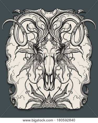 Ram skull with horns and flowers. Animal skull drawn in engraving style. Vector illustration