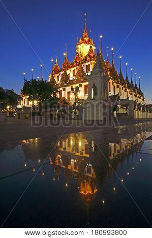 Wat Ratchanadda Reflaction Landmark of bangkok Thailand