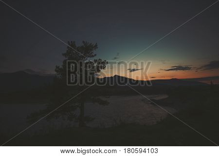 Scenery wide angle view of cedar tree silhouette near Katun mountain river on late sunset with mountains and hills in background and dark dramatic teal and orange summer sky Altai Russia