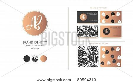 Luxury brand identity. Calligraphy AB letters - sophisticated logo design. Couple business card designs included.
