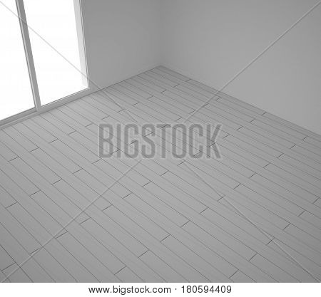 Empty room with wooden parquet floor abstract sketch diagonal herringbone minimalist interior design, 3d illustration