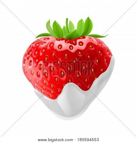 Fresh Strawberry Dipped in Sour Cream. Illustration on White