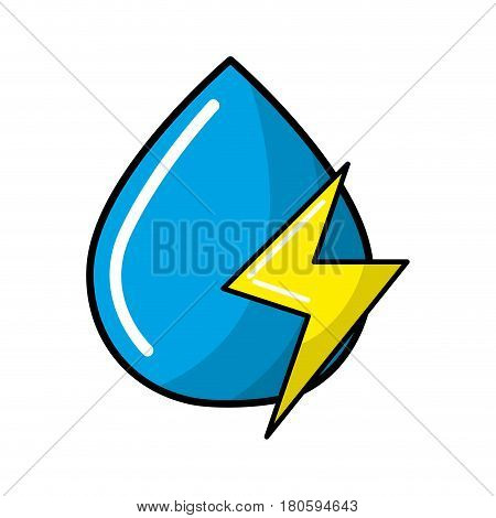 blue water drop with energy sign, vector illustration