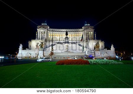The Altare della Patria, Rome, Italy - July 10, 2012:  Known as the Monumento Nazionale a Vittorio Emanuele II or Il Vittoriano, is a monument built in honor of Victor Emmanuel, the first king.
