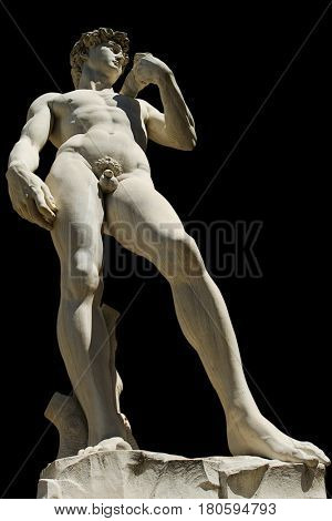 David, Florence, Italy - July 12, 2012: This cut out David statue by Michelangelo is replica replaced original in 1910 on Piazza Della Signoria in Florence, Italy.