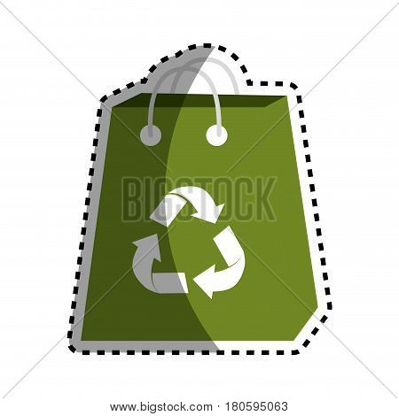 sticker green bag with reduce, reuse and recycle symbol, vector illustration