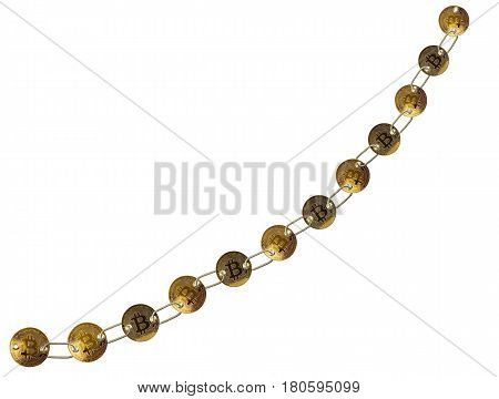 Set of gold bitcoins linked by chain isolated against white background to illustrate concept of blockchain for supply chain management