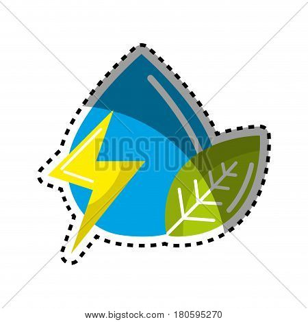 sticker drop of water with energy sign and leaf, vector illustration
