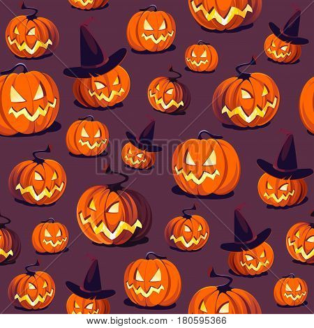 Seamless Halloween Pattern with Pumpkins on dark background.