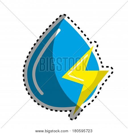 sticker blue water drop with energy sign, vector illustration