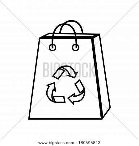 silhouette bag with reduce, reuse and recycle symbol, vector illustration