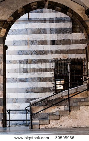 detail of medieval palace 'Andrea Doria' in genoa italy in its old city center, namely piazza san matteo