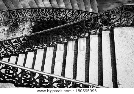 view of a staircase in black and white
