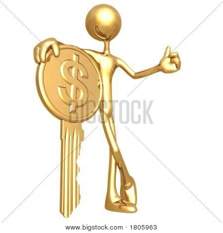 Financial Gold Dollar Coin Key