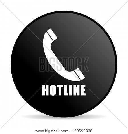 Hotline black color web design round internet icon on white background.
