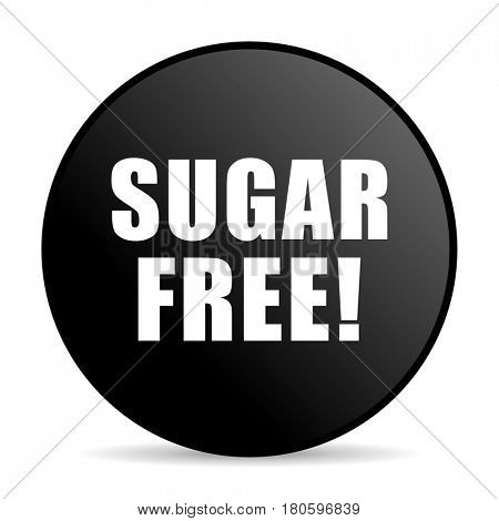Sugar free black color web design round internet icon on white background.