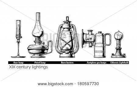 Vector hand drawn illustration of XIX century lightings evolution. Auer lamp with gas mantle Barn lantern kerosene and carbide lamps Edison Light bulb. Isolated on white background.