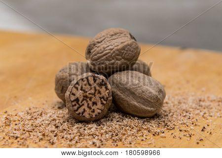 Close Up Pile Of Whole Nutmeg