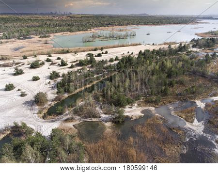 Lake And Forest During Spring Time. View From Above.dabrowa Gornicza, Poland.