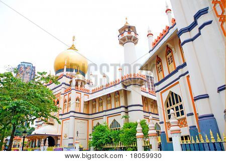 Jalan Sultan mosque, Muscat Street, Kampong Glam.  A national heritage for the Malay and Arab Muslim community of Singapore. poster