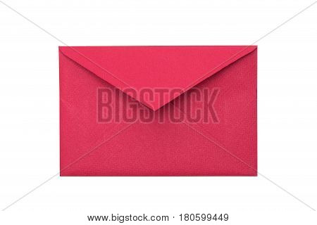Paper envelope on a white background. Red paper envelope