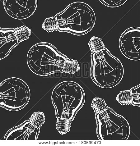 Seamless pattern with incandescent light bulbs. Vector illustration background in ink hand drawn style on black background.