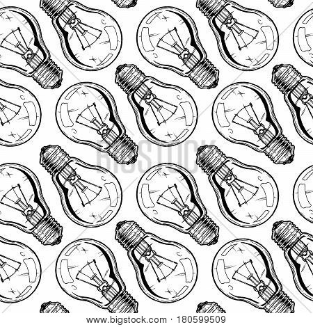 Seamless pattern with incandescent light bulbs. Vector illustration background in ink hand drawn style on white background.