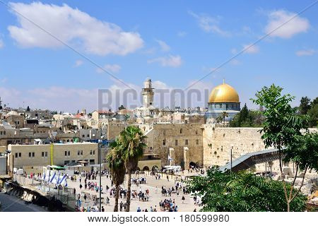 Wailing Wall and Dome of the rock in Old City of Jerusalem.