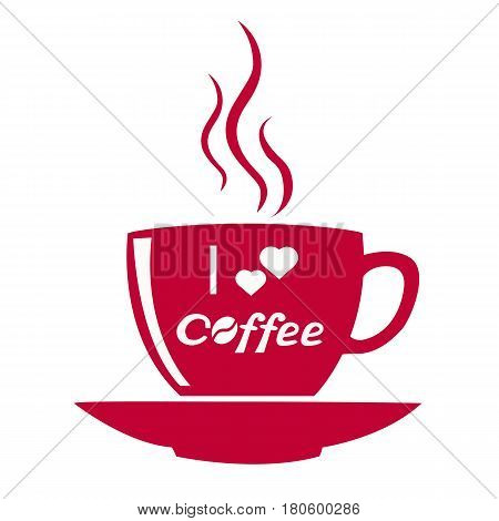 Coffee cup icon. Cup of hot drink. Coffee with hearts. icon A cup for lovers. Vector illustration.