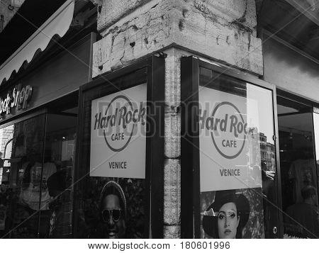 Hard Rock Cafe In Venice In Black And White