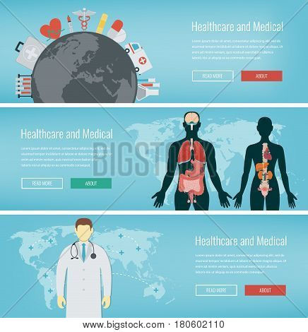 Medical banners set. Healthcare and Medical concept. Web banners with medical icons. Vector illustration