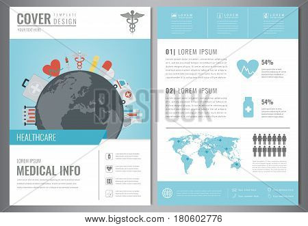 Medical Brochure Design Template. Healthcare and Medical concept. Flyer with medicine icons. Vector illustration