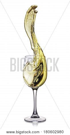 Splash Of White Wine In Glass With Reflection