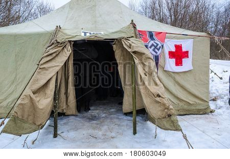 Leningrad region, Russia - 29 Jan 2017: german field hospital during the second world war. The reconstruction of military events