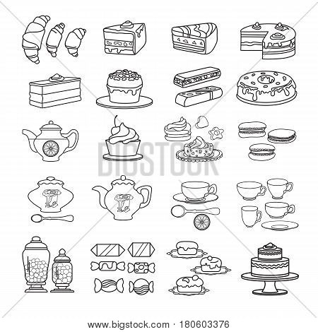 Confectionery icon. Set of cute various desserts icons. Flat design vector illustration. Sweet baked goods, biscuits isolated on white background. For bakery shop recipes, pastry and patisserie or confectionery.