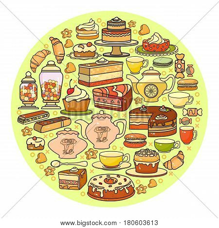 Confectionery icon. Set of cute various desserts icons. Flat design vector illustration. Sweet baked goods, biscuits isolated on light background. For bakery shop recipes, pastry and patisserie or confectionery. Circle background.