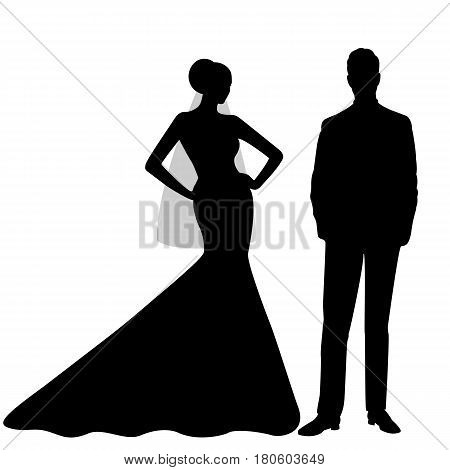 The bride and groom. The black silhouette of a bride and groom isolated on white background. Vector illustration.