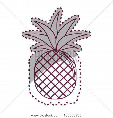 sticker silhouette pineapple fruit icon stock, vector illustration design image