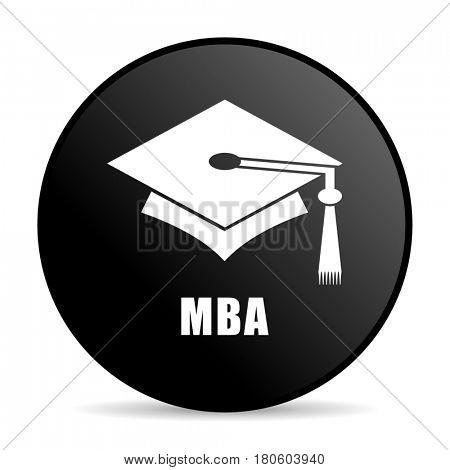 Mba black color web design round internet icon on white background.