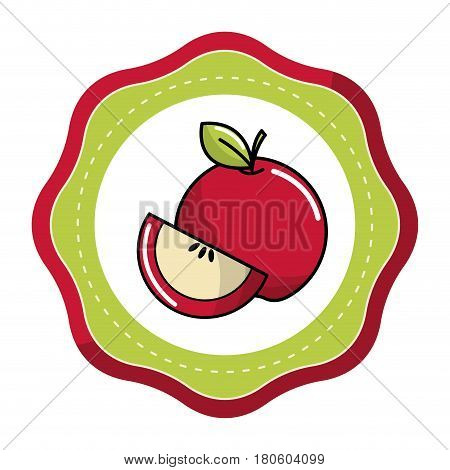 sticker red fruit icon stock, vector illstration design image