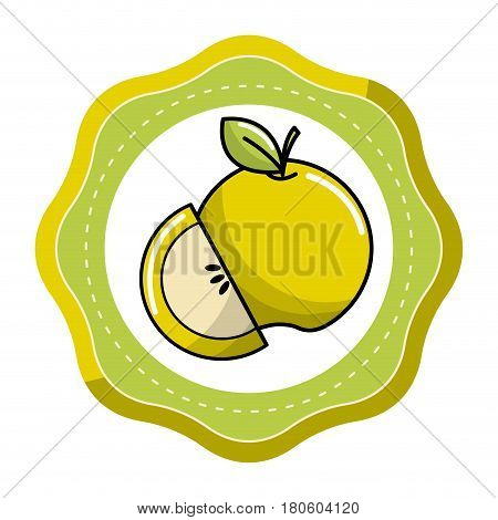 sticker green fruit icon stock, vector illstration design image