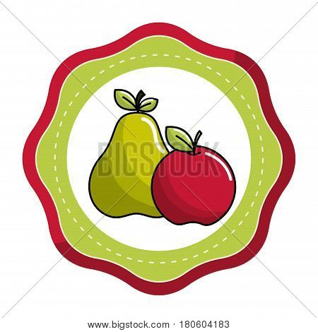 sticker pear and apple fruit icon stock, vector illustration design